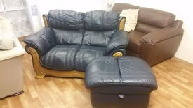 2 & 3 LEATHER NAVY SOFA PLUS MATCHING FOOT STOOL