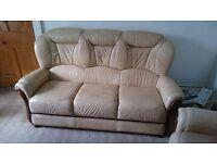 3 Piece Cream Leather Suite £200 ONO