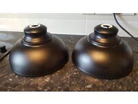2 ikea black metal lampshades