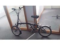 Brompton bike black 3 speed foldable
