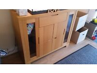 Solid Oak Display Cabinet / Sideboard
