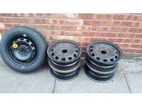 """5 ford fiesta 14"""" steel wheels"""
