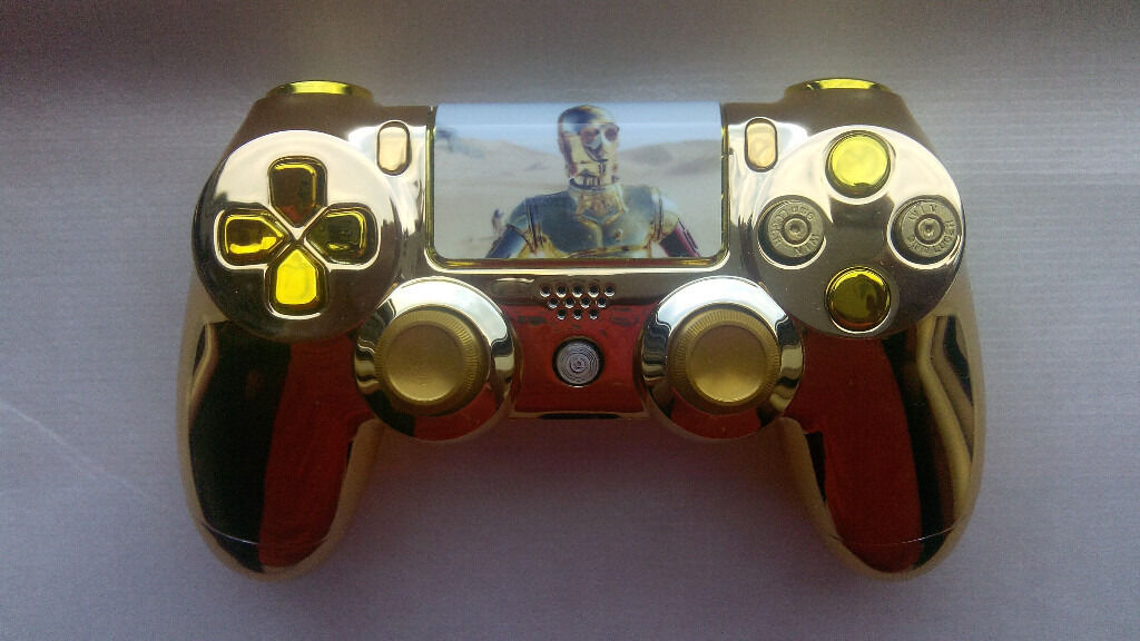 Custom C 3P0 ps4 controllerin Motherwell, North LanarkshireGumtree - Custom Chrome Gold case. Custom graphics and lightbar graphic. Custom mix Chrome Gold and Chrome Yellow D Pad and trigger buttons. Custom Gold metal thumbsticks. Custom home button. Buyer must collect. Ph. 07462269200