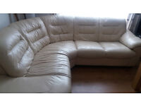 Cream leather corner sofa - only 19 months old