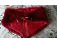 Burgundy dark red faux fur x2 bridesmaids cape shrug wrap NEW