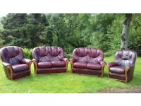 Leather sofas and chairs