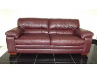Designer chocolate brown leather 3 seater sofa + 2 chairs (206) £899