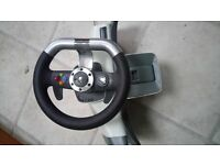 X box 360 Racing wheel, pedals, clamp and game