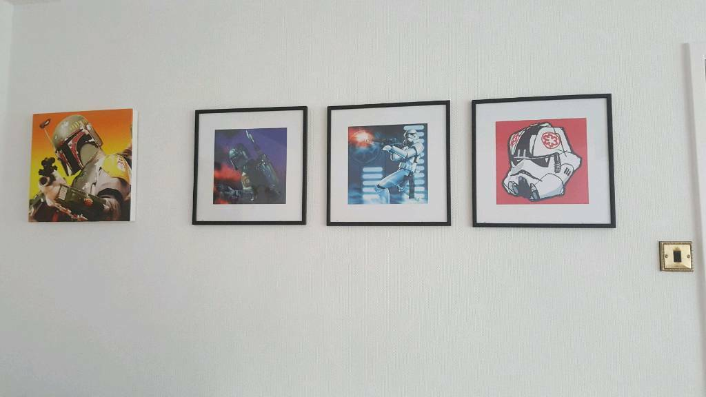 Rare limited star wars pictures framed x 3 & canvas print