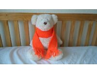 Kids Scarf Bright Orange Girls or Boys Knitted Woollen Xmas Childrens Christmas (free postage)