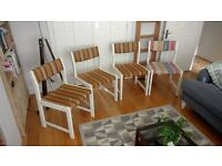 Retro dining room chairs x 4, upholstery project, cool office chair, orla kiely, kitsch