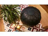 Moroccan leather pouffe 100% lamb soft leather.
