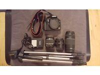 Full DSLR kit. Canon EOS 1000D, 3 lenses, tripod, bag, accessories .