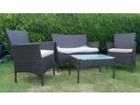 New Fully Assembled Rattan garden furniture set 2 single chairs double sofa chair & coffee table