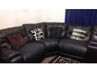 Leather Recliner Corner Sofa - Black