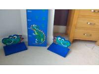 Next Child Dinosaur shelves & height chart. Nursery room decorations