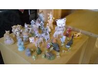 Selection of small models / figurines including cats, horses, teddies