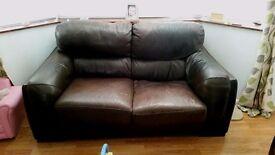 Brown Italian Leather Sofa Suite