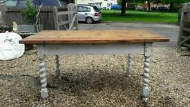 Pine topped shabby chic farmhouse table