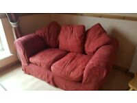 2 seater fabric sofa - wine removable cover