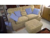 Fabric sofa with Pouffe.. only £45..CHEAP local DELIVERY Stalybridge SK15 3DN