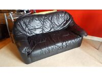 Two Seat Black Leather Sofa and Two Black Leather Chairs - leather three piece suite Good Condition