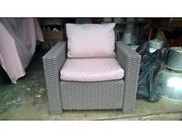 4 X Garden Chairs Rattan - Allibert California Graphite Grey Beige Cushions