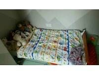 Toddlers childrens bed with mattress/quilt/sheets