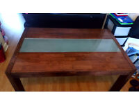 Dark Wood and glass dining table