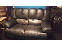 Verona Black Leather Sofa Recliner 2 + 3