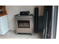 Gazco Brushed Steel Manhatten Log Effect LPG Gas Stove
