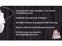 Experienced Tutor Available - Belfast and Co. Antrim areas.