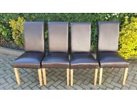 4 x Oak Furniture Land Roll Top Brown Dining Chairs (barely used)
