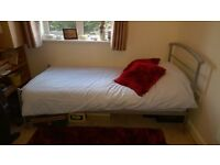 Single Bed, Grey Metal Frame, with Mattress Set - both hardly used
