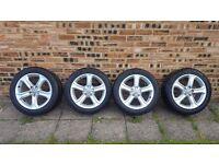 "Genuine OEM SET OF 4 Audi A4 17"" 5 Spoke Alloy Wheels + Tyres"