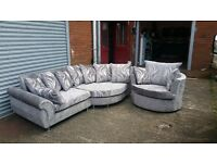 1 0FF DEAL ON THIS TOP QUALITY HAND MADE CRUSH CHENILLE CORNER SOFA £599 PLUS CUDDLE CHAIR FREE !!!