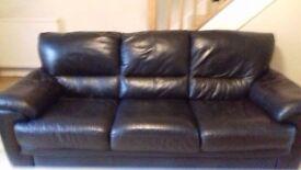 Black leather 3 seater sofa - £50