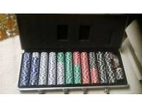 Poker chip set and case