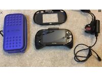 PS Vita with HORI official grip and case, plus 8gb memory card