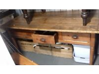 Large Wooden Table for Dining or Work/Crafts many drawers and great features
