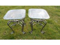 PAIR STEEL FRAMED GLASS TOP COFFEE TABLES