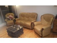 Leather 3 piece suite. Sofa and two chairs