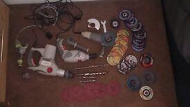 sds drill+drill bits,drill,small grinder+plenty discs for metal 80£