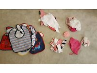Baby clothes - accessories bundle- bibs, socks, mitts, sunhat, hair bands etc.