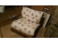Single 2ft6 (75cm) Futon Wooden Frame Sofa Bed Mattress Blue/White Colour