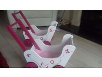 Classic wooden dolls prams with bedding / baby walker