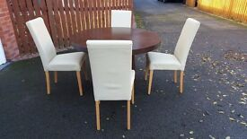Dark Wood Veneer Round Dining Table & 4 Cream Leather Chairs FREE DELIVERY (03428)