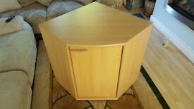 Wooden Beech Veneer Double Corner Compartment Storage Unit With Door