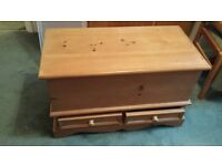 Unusual solid pine ottoman with 2 draws