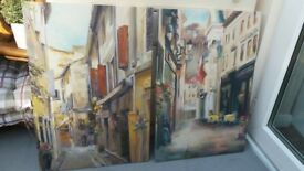2 canvass pictures French/ Italian street scene
